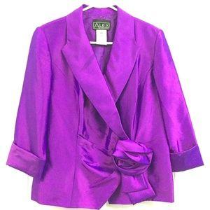 Large ALEX EVENINGS Shimmery Purple Dress Jacket